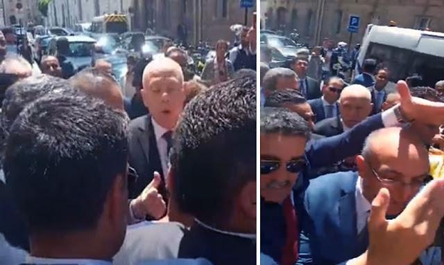 قبل دخول قيس سعيد سفارة باريس: محتجّون يطالبون بالإعتذار لأهالي تطاوين (فيديو)