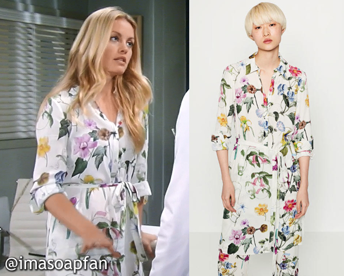 Claudette Beaulieu's White Floral Shirtdress - General Hospital, Season 54, Episode 08/18/16