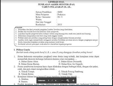 Soal PAS Prakarya Kelas 9 Kurikulum 2013 SMP/MTs