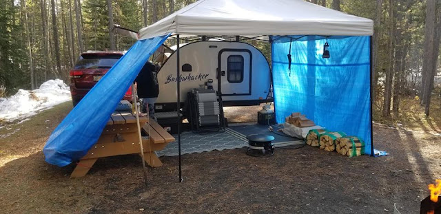 tiny teardrop trailer camping, Alberta, Canada, McLean Creek Campground