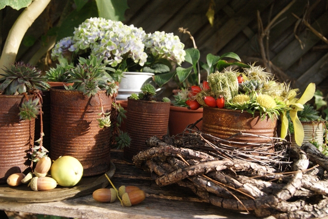 Gartentisch mit Deko im September