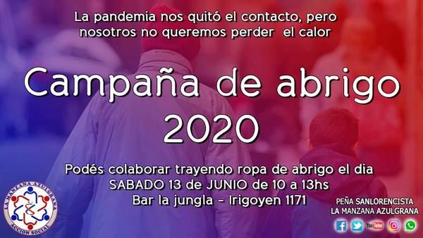 La peña del club San Lorenzo de Almagro Roca busca llevar abrigo y calor a los barrios