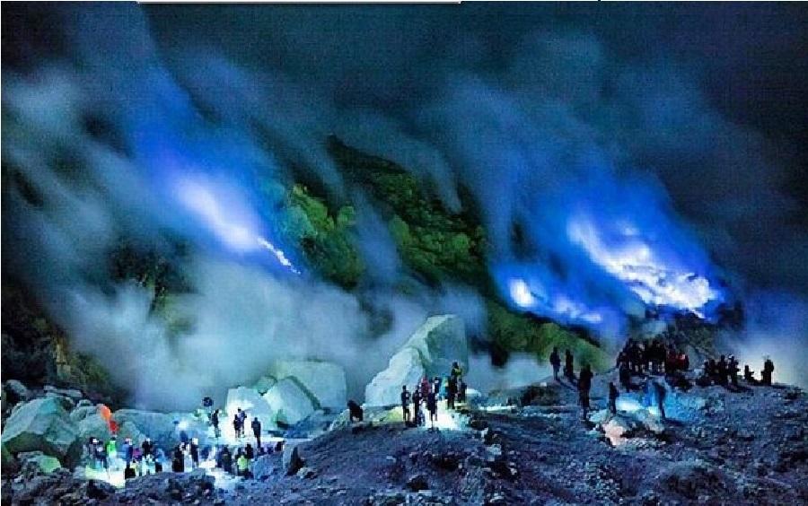 Volcano, Indonesia, Electric Blue, Lava