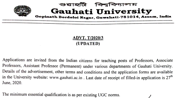 Gauhati University Faculty Jobs 202 in Life Sciences