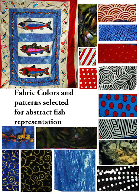 trout quilt fabrics, how to select patterns etc