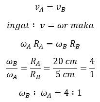 perbandingan kecepatan sudut roda B dengan Roda A