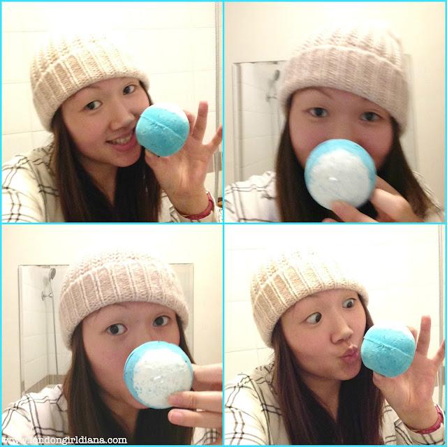 LUSH Big Blue bath bomb selfie