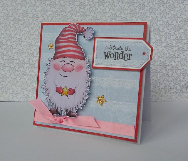 kartka mini świąteczna ze skrzatem