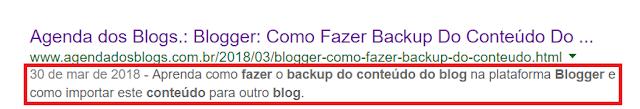 Descrição de post no Google