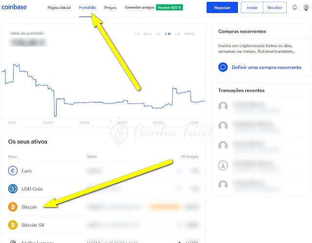 Coinbase portefolio Bitcoin btc wallet