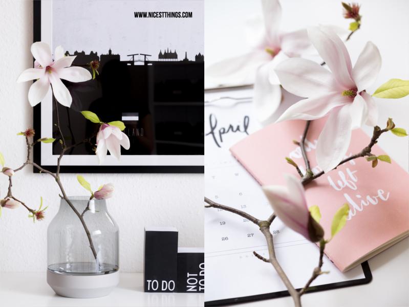 Magnolienzweige in Vase als Tischdeko