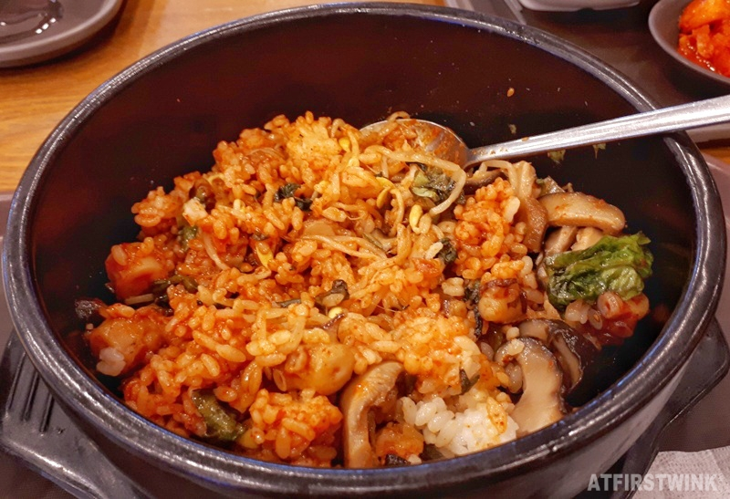 Hot stone bibimbap with spicy octopus mixed food court lotte mart seoul station