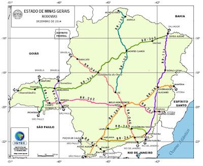 estradas mineiras, rodovias de minas gerais,BR, DER,MG