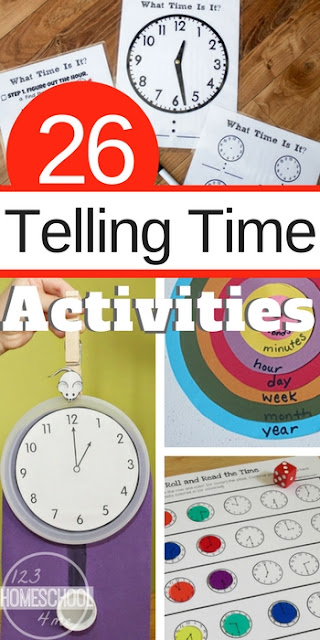 26 Telling Time Games and Activities - so many fun hands on activities, telling time games, free clock worksheets and more for kindergarten, first grade, 2nd grade, 3rd grade (math, homeschool, math centers)
