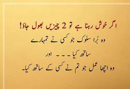 Best Inspiring Quotes in Urdu images - ager khush rehna hai tu 2 chezain bhol jao
