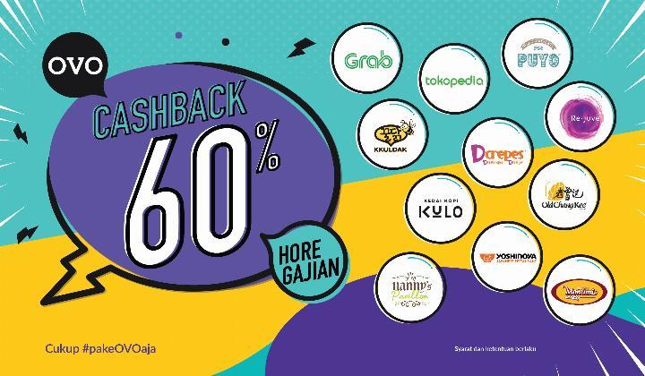 #OVO - #Promo Hore Gajian Cashback 60% di Merchant & Transport Online Favoritmu (s.d 05 Feb 2019)