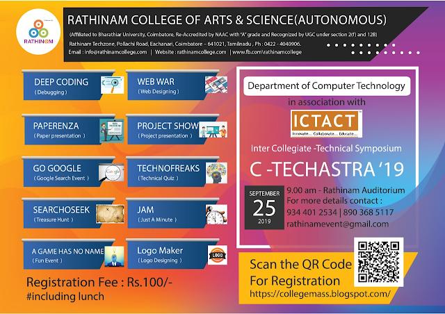 """National Level Technical Symposium – C-TECHASTRA'19  on 25th September 2019"""