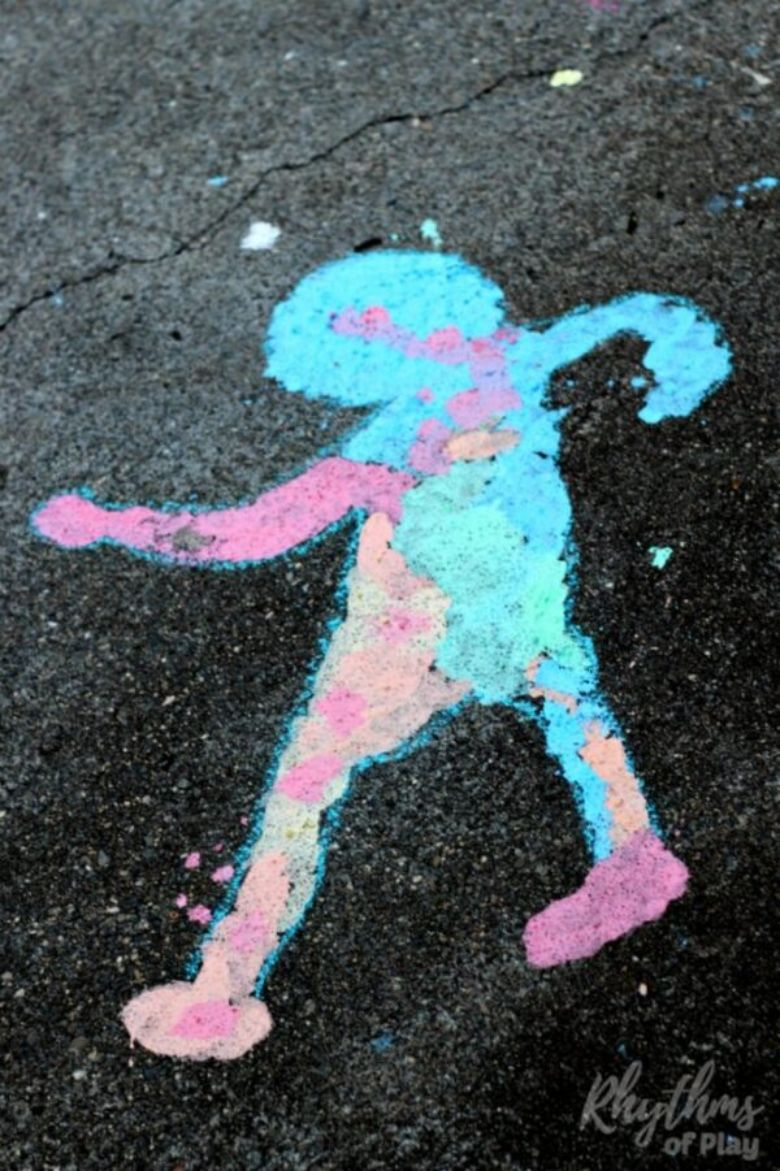 shadow art sidewalk chalk ideas