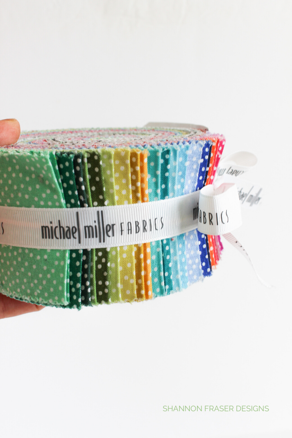 Michael Miller Fabrics Garden Pindot Jelly Roll | 2019 Holiday Stocking Stuffer Guide for Quilters | Shannon Fraser Designs #jellyroll #michaelmillerfabrics #fabric #giftguide