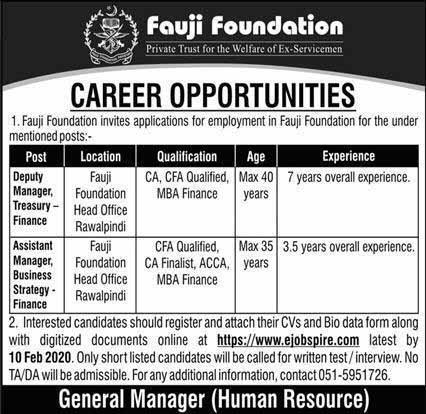 Fauji Foundation latest jobs February 2020