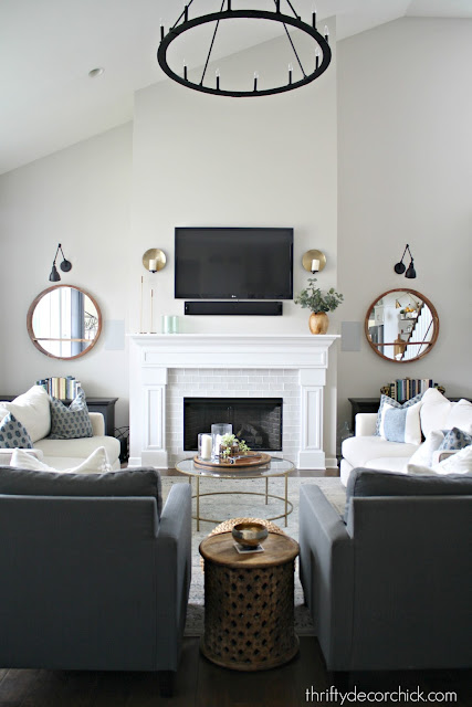 Two story fireplace wall in family room