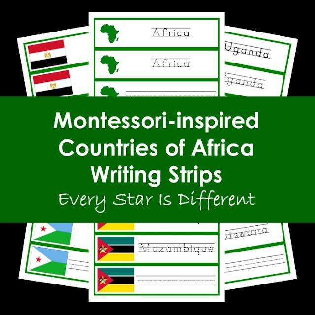 Montessori-inspired Countries of Africa Writing Strips