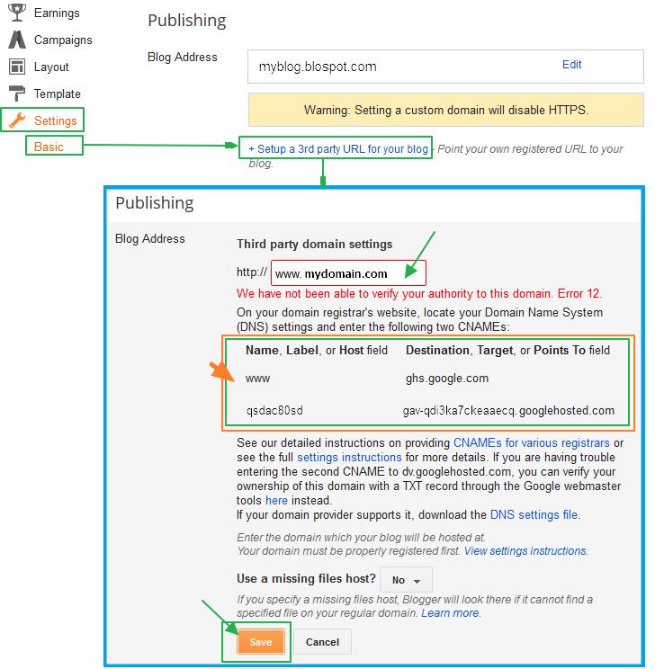 구글블로그 사용법: 자신의 개인 도메인 (own URL, 3rd party URL, 2차 도메인) 연결 방법