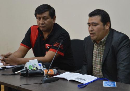 Representantes de la Confederación Urbana de Maestros en Tarija