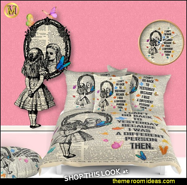 Alice In Wonderland Quote bedding- Vintage Dictionary bedding alice in wonderland bedroom decor maries manor