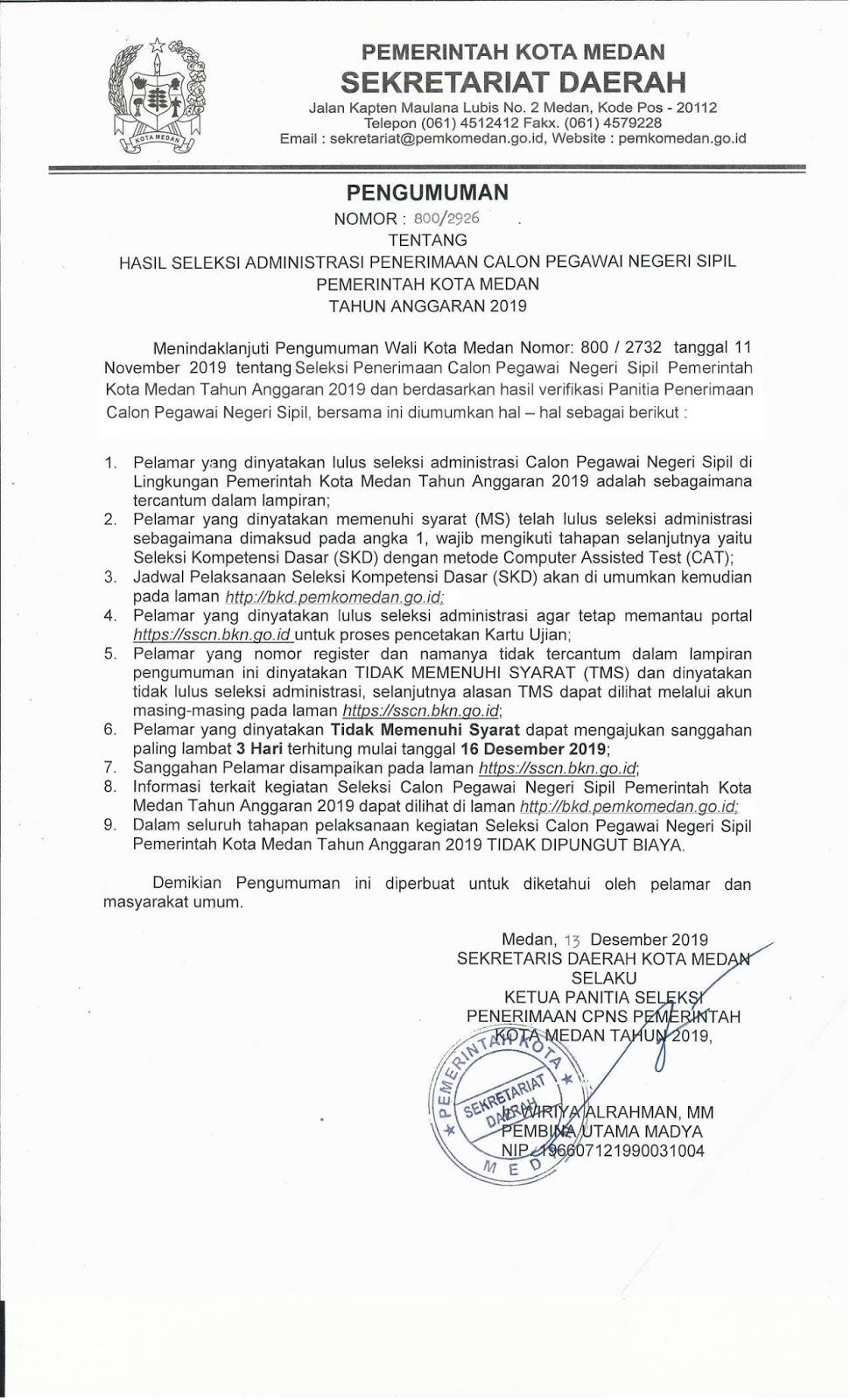 Hasil Seleksi Administrasi CPNS Pemko Pemerintah Kota Medan Tahun Anggaran 2019