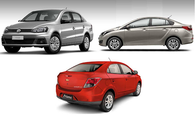 GM Prisma x VW Voyage x Hyundai HB20S - comparativo