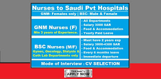 Nurses to Saudi Pvt Hospitals Male and Female Can Apply