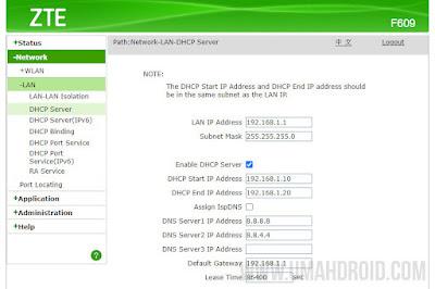 Mengubah DNS Router ZTE F609 IndiHome