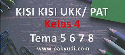 Download. Unduh Kisi Kisi UKK/ PAT/ UAS Semester 2/ Genap B. tematik Kelas 4 tema 6 7 8 9 SD/ MI Kurtilas Terbaru Th. 2018/ 2019/ 2020/ 2020 PDF Docs Word Format, pg, uraian, essay, isian singkat