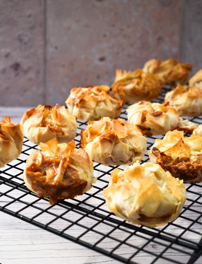 Caramel Banana Filo Hand Pies on a cooling rack