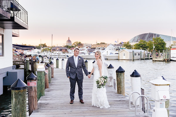 Annapolis Waterfront Hotel Wedding 2021 deck sunset photographed by Heather Ryan Photography