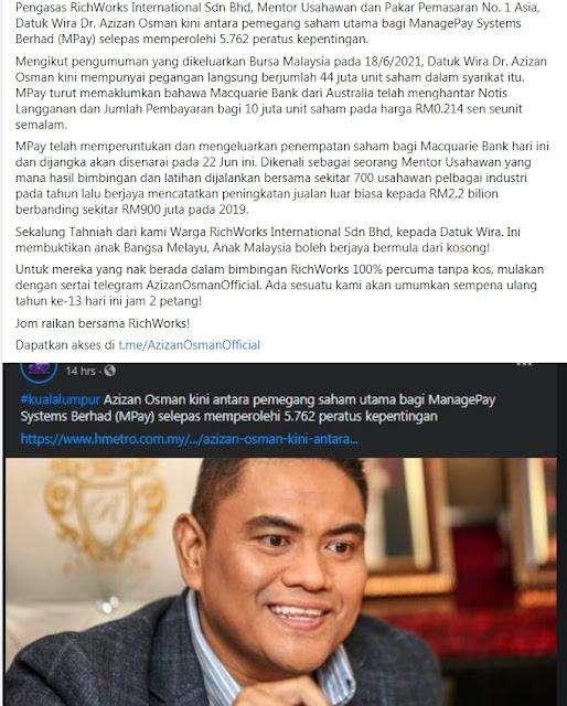Datuk Wira Dr Azizan Osman mempunyai 44 juta unit saham di syarikat Mpay menjadikan beliau pemegang saham utama bagi syarikat tersebut