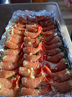 Spot shrimp ready to go on the barbeque.