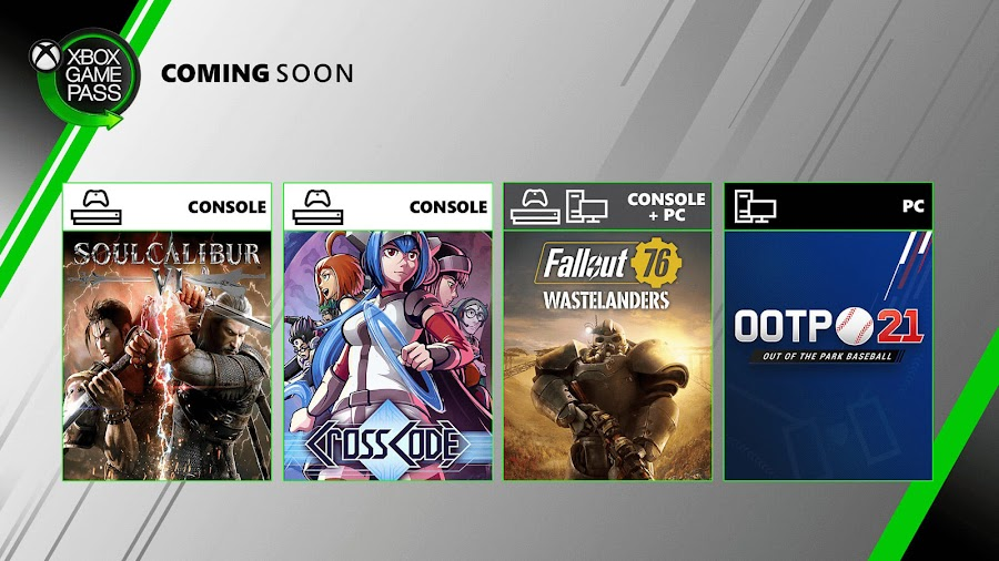 xbox game pass out of the park baseball 21 soulcalibur 6 crosscode fallout 76 xb1 2020