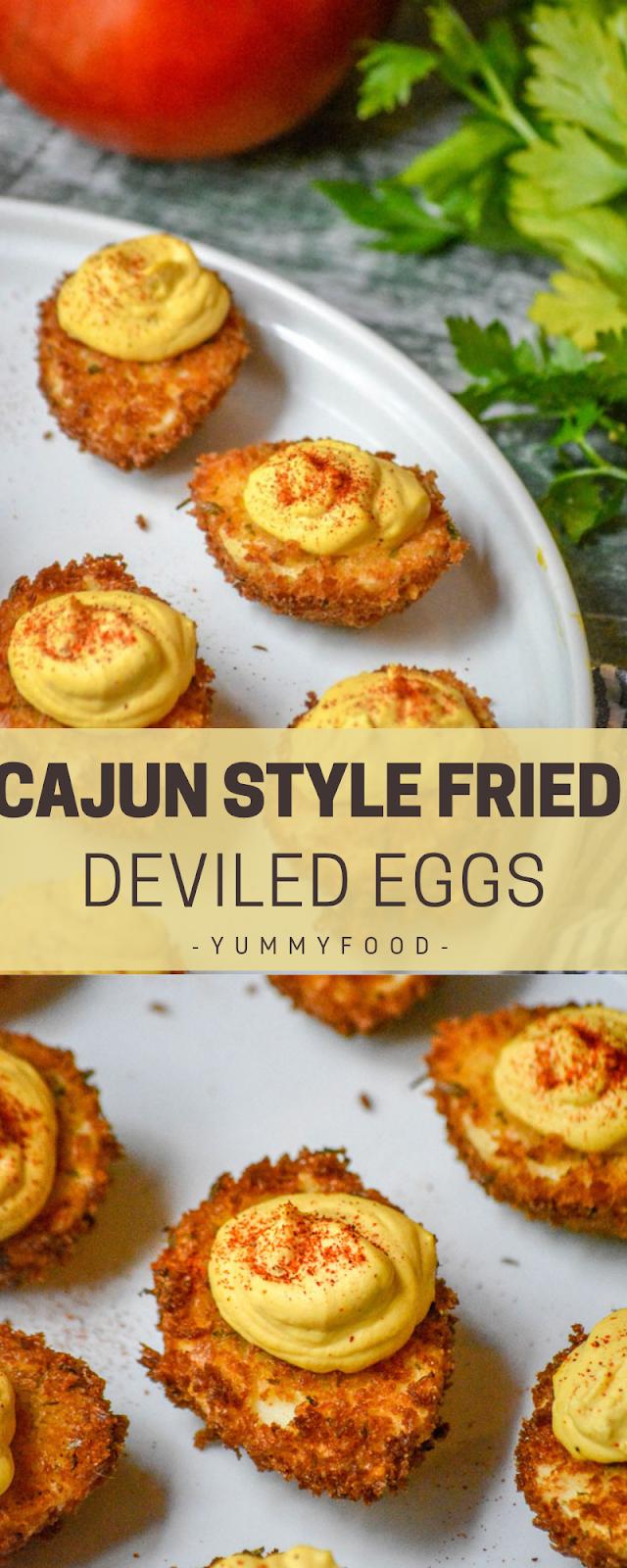 Cajun Design Fried Deviled Eggs