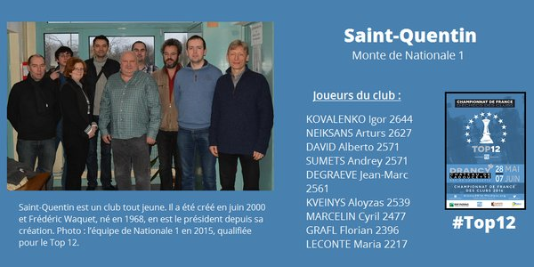 L'équipe d'échecs de Saint-Quentin, club créé en 2000 - Illustration © FFE