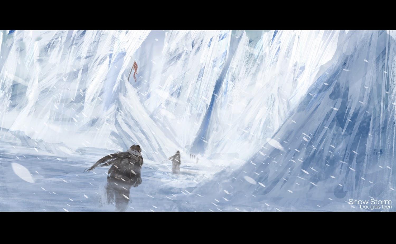 concept art, snowstorm, deri, speedpaint, snow, neve, avalanche, pintura, digital, douglas deri