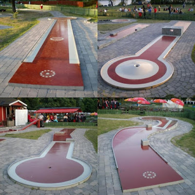 Minigolf at Tantogårdens Bangolf in Stockholm, Sweden