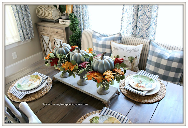 Fall -Tablescape -Pumpkin-Chalk Painted-DIY- Centerpiece- From My Front Porch To Yours
