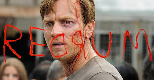 still from Doctor Sleep showing Ewan McGregor with REDRUM scrawled over a mirror