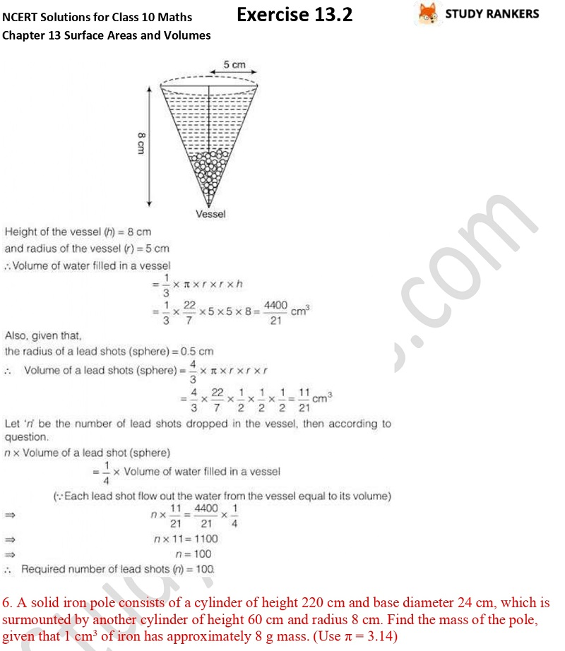 NCERT Solutions for Class 10 Maths Chapter 13 Surface Areas and Volumes Exercise 13.2 Part 6