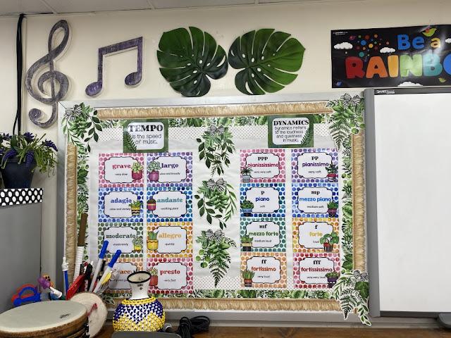 tempo posters, dynamics posters, music classroom decor, rainbow, boho musicroom, music bulletin board, music classroom tour