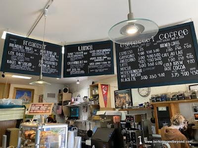 interior and menu at Honey Girl Cafe in Cayucos, California