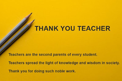Image of Thank You Messages for Teachers from Students with yellow background.