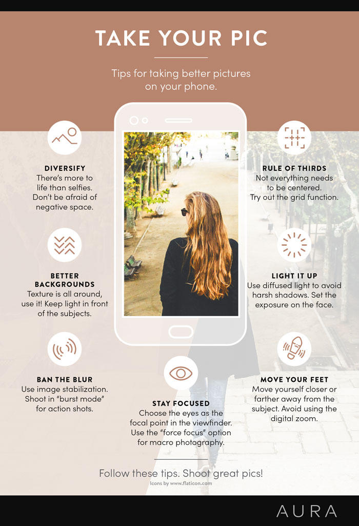 Infographic on how to take great photos on your phone camera